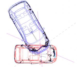 Modalità di collisione tra due autoveicoli determinate tramite rilievo laser scanner