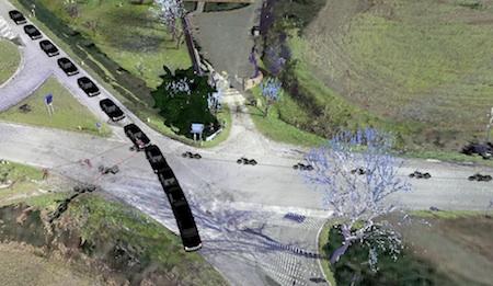 Esempio di ricostruzione in 3D della dinamica di un sinistro