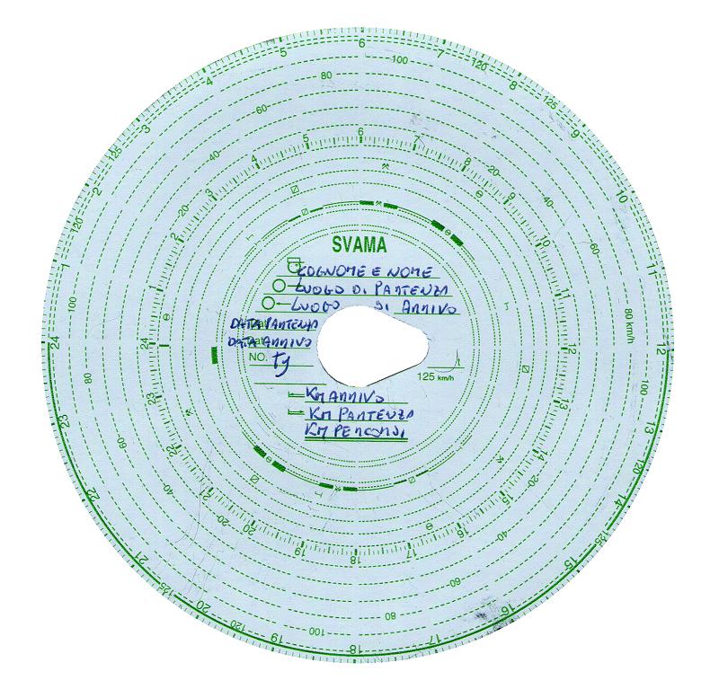 Disco del cronotachigrafo analogico